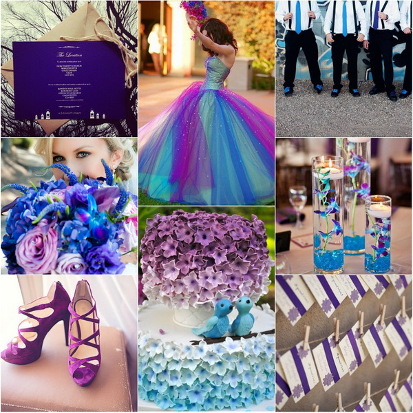 Aqua Blue And Purple Wedding Theme - New Images Blue